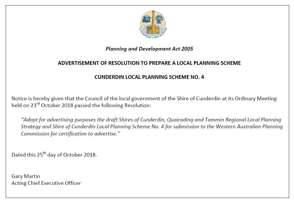 ADVERTISEMENT OF RESOLUTION TO PREPARE A LOCAL PLANNING SCHEME