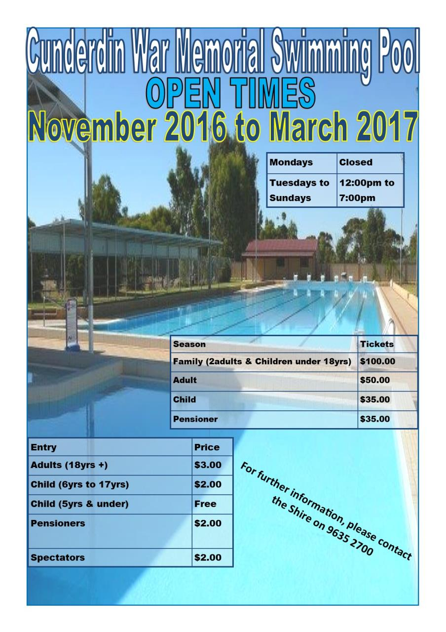 Cunderdin Swimming Pool Shire Of Cunderdin